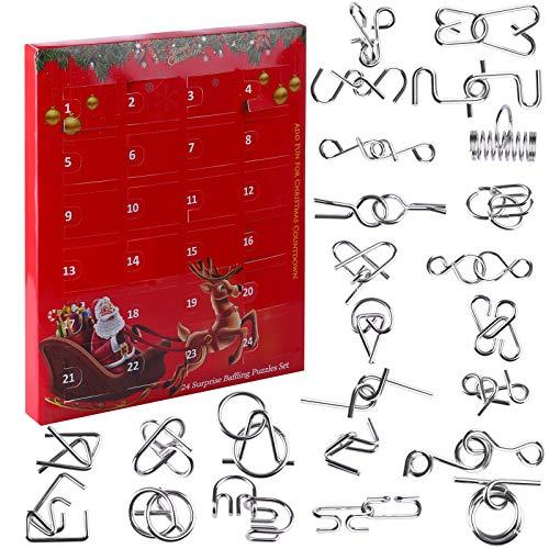 ALLESOK 24St. Adventskalender Metall Knobelspiele Set Puzzle 3D Brainteaser Knifflige Rätsel Logikspiele Geduldspiele für Kinder und Erwachsene, Anleitung dabei