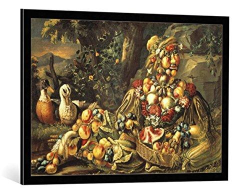 Kunst für Alle Cuadro con Marco: Giuseppe Arcimboldo The Summer - Impresión artística Decorativa con Marco, 95x65 cm, Negro/Canto Gris
