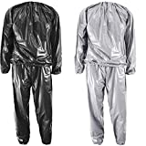 Kenmi Sweat Sauna Suits Heavy Duty Fitness Weight Loss Exercise Gym Women Men Slimming Anti-Rip PVC Tracksuit Clothes (Black, XXXL)
