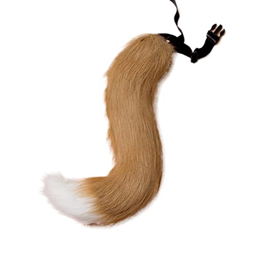 5953a284f JUNBOON Faux Fur Tail for Adult Teen Cosplay Halloween Party Costume