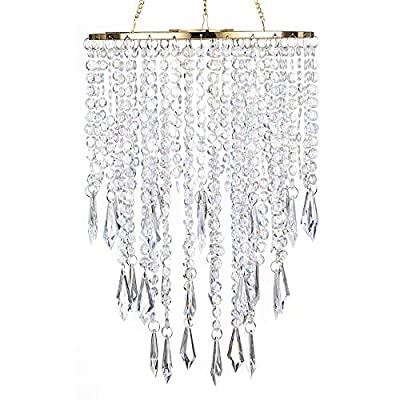 """SUNLI HOUSE Modern Mini Chandelier Shade,H12.9"""" X W8.66"""" Chandelier Light Fixture Sparkling Decorations for Wedding Centerpiece Lampshade with Acrylic Jewel Droplets"""