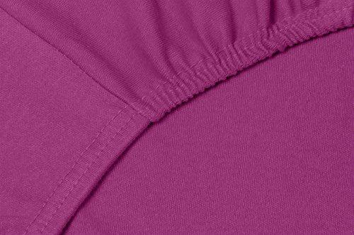 Double Jersey – Spannbettlaken 100% Baumwolle Jersey-Stretch bettlaken, Ultra Weich und Bügelfrei mit bis zu 30cm Stehghöhe, 160x200x30 Aubergine - 5