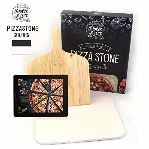 DOLCE MARE Pizzastein Beige - Pizza Stein aus hochwertigem Cordierit für den Backofen & Grill - Backstein für knusprige Pizza wie beim Italiener - Inkl. Pizzaschieber - Brotbackstein | Backstein