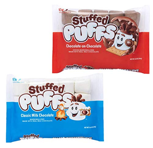 Stuffed Puffs - Variety 2 Pack, Marshmallows Made with Real Chocolate, Perfect for Hot Cocoa and Snacking, 1 bag of Original and 1 bag of Chocolate-on-Chocolate (8.6 oz each)