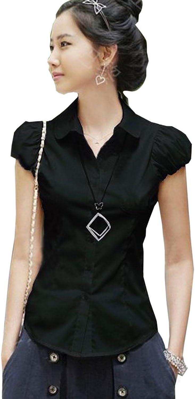 DQQ Women's Cotton Puff Sleeve Slim Fit Button Down Shirt Blouse