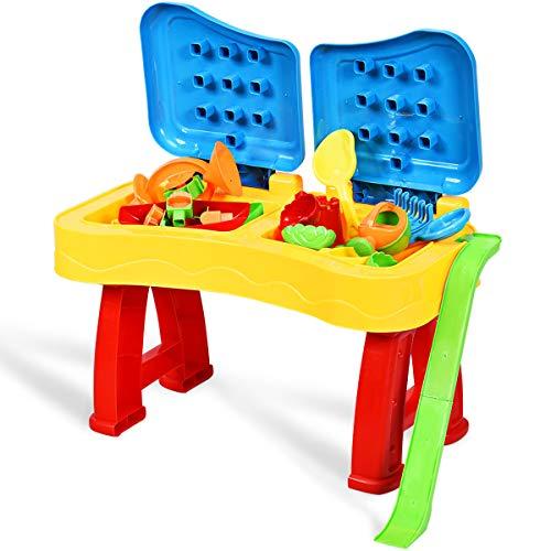 GOPLUS Sand und Wasser Spieltisch, Sandtisch mit Klappbarem Deckel, Wassertisch inkl. Förmchen Schaufel Gießkanne Segelboot Sanduhr, für Kinder ab 3 Jahre (31 pcs)
