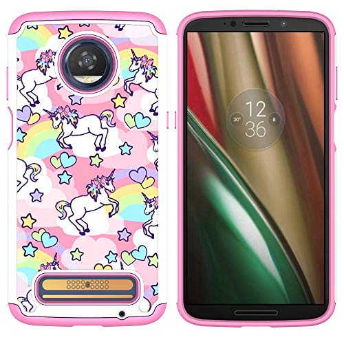 Moto Z3 Case,Moto Z3 Play Case - Rainbow Unicorn Pattern Shock-Absorption Hard PC and Inner Silicone Hybrid Dual Layer Armor Defender Protective Case Cover for Motorola Z Play (3th Generation)