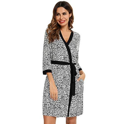 Ansemen Albornoz Kimono Modal Suave para Mujer, Cárdigan con Cuello en V Pijamas, Camisones Casuales Ropa de Casa