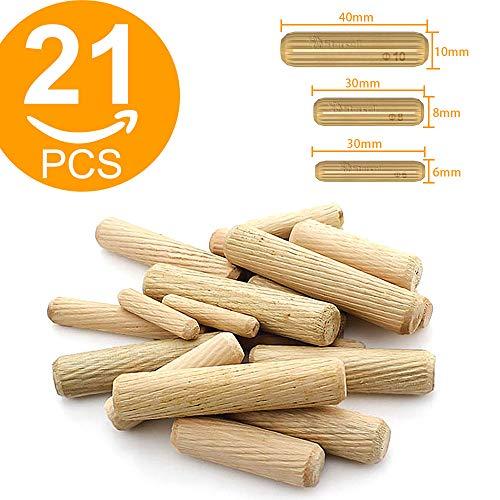 Act Holzdübel M6, M8, M10, Hartholz, gerillt, für Möbel, 6 mm, 8 mm, 10 mm, 21 Stück