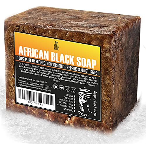 Raw ORGANIC AFRICAN BLACK SOAP, for Dry Skin and Skin Conditions. Pure & Natural Ingredients, Imported From Ghana - 1lb (16oz)