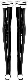 (フィーショー)FEESHOW レディース 女性 レザー セクシー ニーハイ ストッキング 光沢 美脚 ガーター ストッキング 学生 ロリータ 仮装