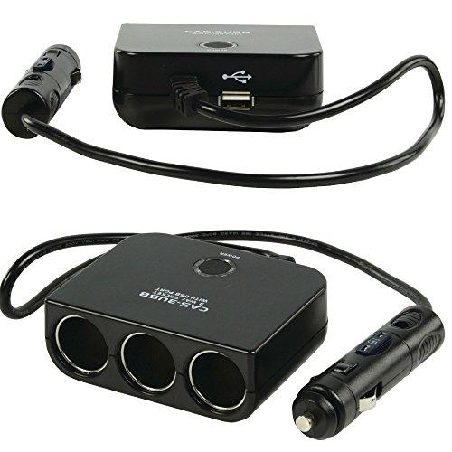 Eurosell 12V Auto encendedor de cigarrillos suave distribuidor coche 3hembra + USB Cargador