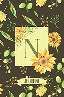 N Journal: Sunflowers Notebook Monogram Initial N Blank Lined Journal | Decorated Interior