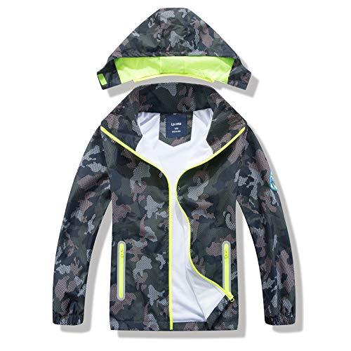 HZXVic Chaqueta impermeable para niños , Impermeable de camuflaje para niños, abrigo de lluvia ligero con capucha 3-4 años
