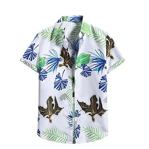 Camisa hawaiana para hombre, de verano, informal, con flores, manga corta, corte ajustado. G_blanco. L