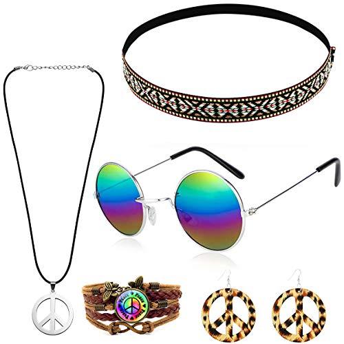MMTX Conjunto de Disfraces Hippies Accesorios Hippies de la Paz Collar Pendientes Pulsera Diadema de Bohemio Gafas de Sol Hippy de Halloween Vestir para la Fiesta temática de los años 60 y 70