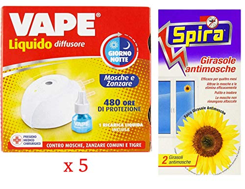 set 5 confezioni VAPE Elettroemanatore mosca e zanzare con Ricarica Giorno E Notte 480 Ore più spira girasole antimosche