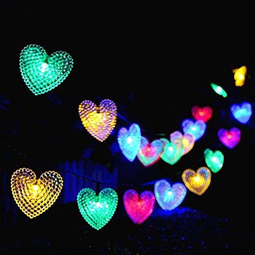 Catene Luminose Esterne,KINGCOO Impermeabile 20ft 30LED Amore Cuore Natale Solare Stellato Decorativo Luci Stringa con 8 modalità per Giardino Nozze Festa Terrazza Illuminazione (Multicolore)