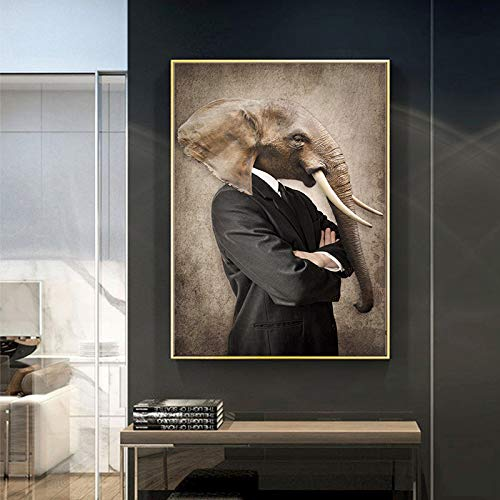 YuanMinglu Vintage Art Lion Tiger Elephant Head Animal Pintura al óleo Lienzo póster e impresión Mural sin Marco 60X90cm