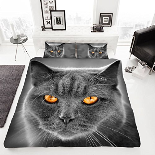 EHD Cat and Kittens Grey Luxurious 3D Style Duvet Cover Sets Quilt Cover Sets Reversible Bedding Sets With Matching Pillowcases (King)