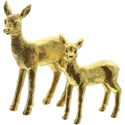 SIDCO REH 2 x Rehfiguren Bambi Kitz Gold Skulptur Landhaus Deko Figuren messingfarben