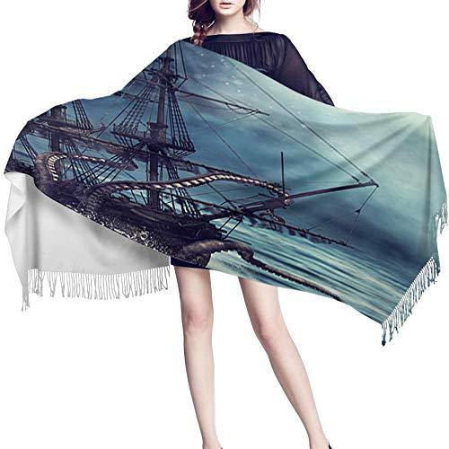 JUGUU Bufandas Para Mujerbufanda De Cachemira Mujer Pirata Monstruo Pulpo Noche Luna Suave Barco De Vela Señoras Bufandas Envuelve Elegante Chal Para Niñas-Los 70X200Cm