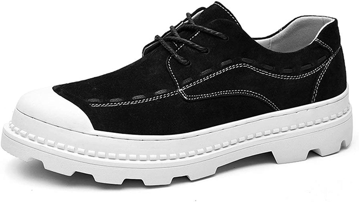 Athletic shoes for Men Sports shoes Lace Up PU Leather Light Flexible and Simple (color   Black, Size   9.5 D(M) US)