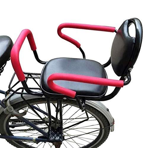 ZGKJ Asiento De Bicicleta para Niños, Asiento De Bicicleta para Portabebés Trasero, con Respaldo De Cojín Pedales/Apoyabrazos Y Valla Desmontable, para Asiento De Niño De 2 A 8 Años