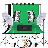 Andoer Studio Fotografico Kit di Illuminazione, kit incluso sfondo 1,8 m * 2,7 m, Sistema di Supporto per Sfondo, Fotografia Riflettore, luce soffusa Ombrello, Softbox, 45W 5500K Lampadina