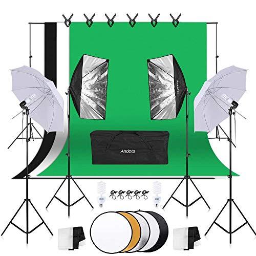 Andoer Kit Fondo Fotográfico Estudio,Softbox de 45W,Paraguas de Luz Suave de 45W,iluminación Profesional,1.8x2.7m Tela de Fondo(Negro/Blanco/Verde) con Sistema de Soporte,para Fotografía y Vídeo