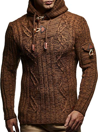 Leif Nelson LN5400 Men's Knitted Pullover With Cozy Hood,Camel Brown,US-M / EU-L