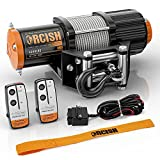 ORCISH 12V 4500LBS Electric Steel Cable ATV Winch Kits for Towing ATV/UTV Off Road Trailer with Wireless Remote Control Mounting Bracket.(4500 Steel Cable S)