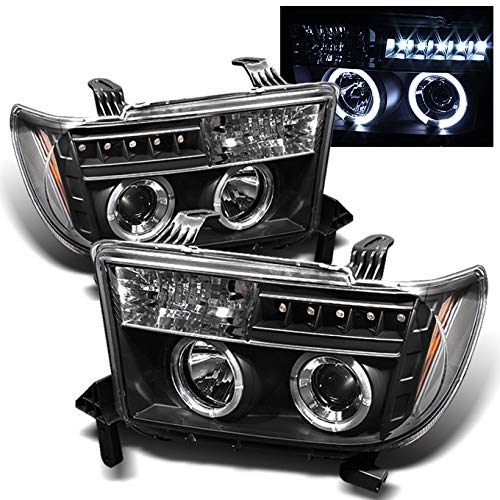 For Toyota Tundra Sequoia Black Dual Halo Ring Projector LED Replacement Headlights Left/Right Lamps