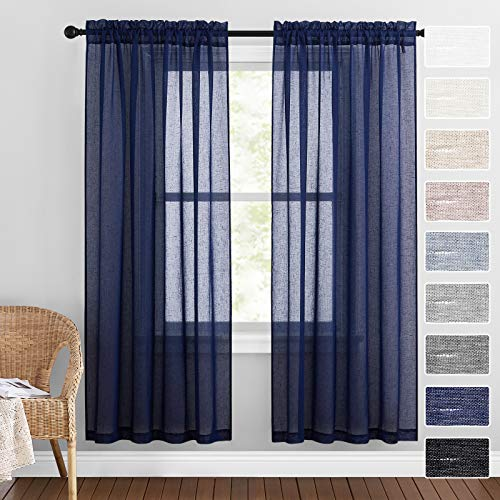 RYB HOME Sheer Curtains for Living Room Natural Flax Sheers Privacy Airy Farmhouse Window Treatment for Bedroom Office Picture Window, Navy Blue, 52 inch Wide x 72 inch Long, 1 Pair