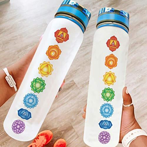 Niersensea Botella de deporte para yoga Chakra, sin BPA, Tritan, a prueba de fugas, para camping, al aire libre, yoga, gimnasio, color blanco, 1000 ml