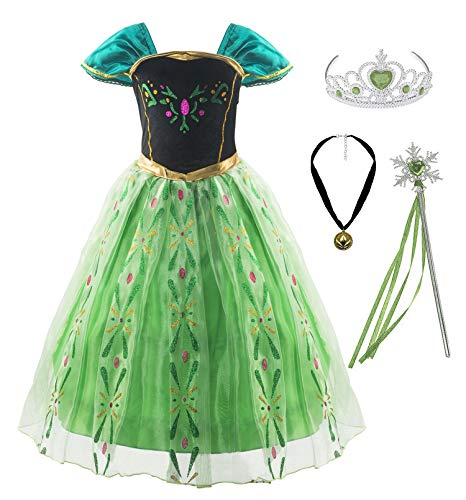 Padete Little Girls Green Snow Princess Party Dress up (7 Years, Green with Accessories)