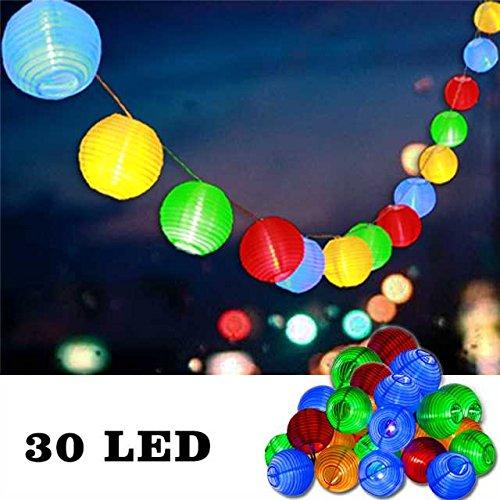 Uping® Led Lichterkette 30er Batterienbetriebene Lampions Laterne für Party, Garten, Weihnachten, Halloween, Hochzeit, Beleuchtung Deko usw. 5,8M (mehrfarbig)
