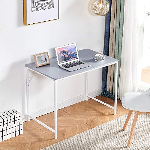 """Grey Computer Desk Home Office Laptop PC Table 39"""" for Small Space, Modern Writing Study Desk for Workstation Student Dorm Bedroom with Wood Tabletop Metal Frame"""