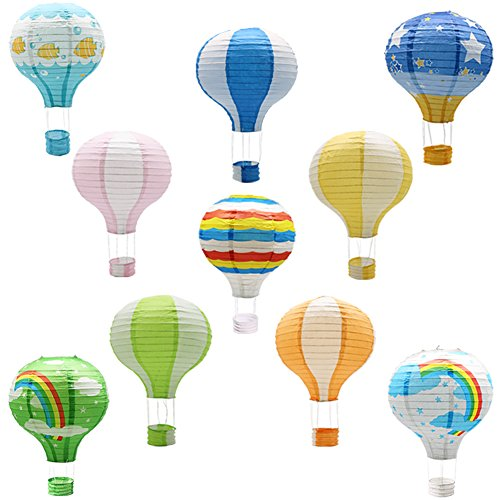 Hanging Hot Air Balloon Paper Lanterns, Reusable Chinese Japanese Party Ball Lamps Decorations Wedding Birthday Anniversary Christmas Engagement, Set of 10