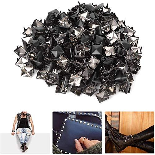 Desconocido HEEPDD 200 Piezas de Remaches Cuadrados, espárragos de Punta Cuadrada de 9 mm DIY Remaches de Cuero de Cuero Bolsa de Ropa de Cuero Bolsa(Negro Mate)