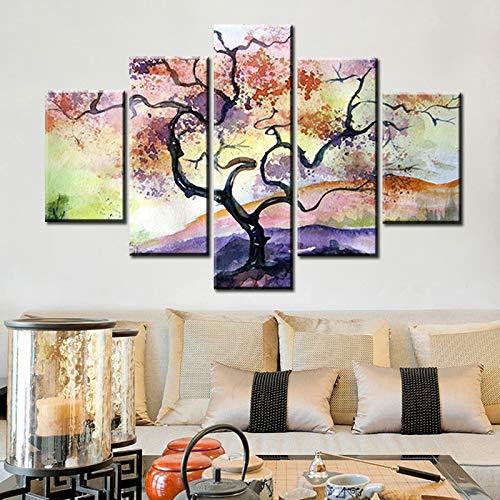 5pcs Abstrakter Baum des Lebens Ölgemälde Leinwanddruck Poster und Drucke Landschaft Wandkunst Bilder Heimtextilien rahmenlose Malerei 30x50cmx2 30x70cmx2 30x80cmx1
