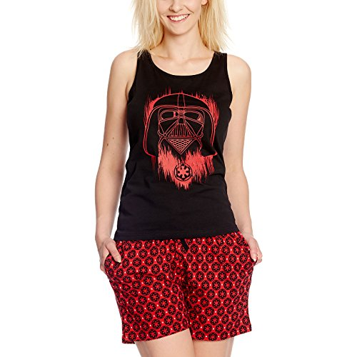 Star Wars Rogue One Damen Schlafanzug Darth Vader Shorty Baumwolle schwarz rot - XS