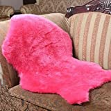 #Wohnzimmer Teppich Elfenbein Weiß XL Neuseeland Echtes natürliches Schaffellteppich Matten ( Farbe : Pink , größe : 75*106cm whole )