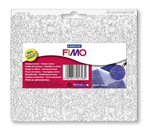 STAEDTLER 8744 14 Fimo Accessories. Hojas de textura para pastas de modelar. Bolsa con una placa de textura barroco, Multicolor
