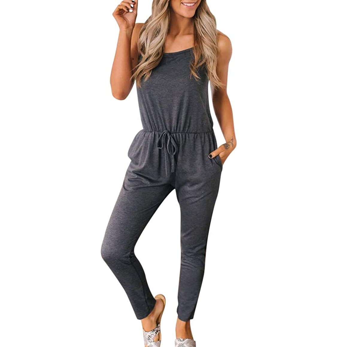 Women's Sleeveless Lace Up O Neck Pockets Casual Sport Solid Jumpsuit Playsuit