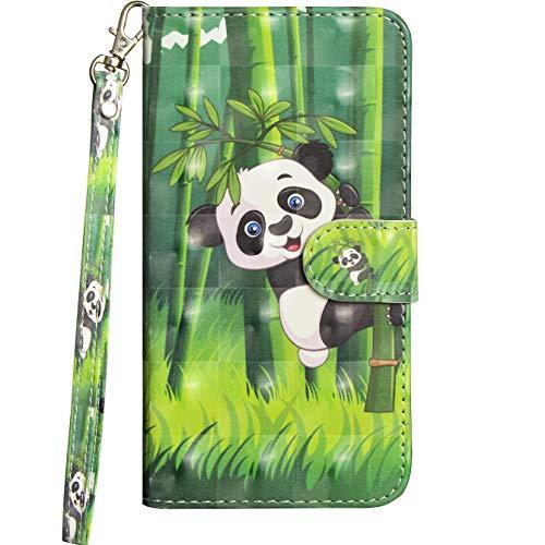 Jefencop Klapphüllen für Xiaomi Redmi Note 8T Hüllen Hülles mit Motiv Handytasche Flipcase Ledertasche Handyhülle 6.3 Zoll mit Standfunktion Kartenfächer Magnetverschluss Tiermuster Panda