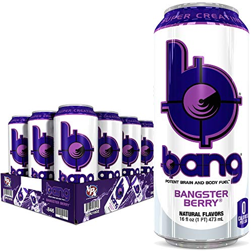 Bang Bangster Berry Energy Drink, 0 Calories, Sugar Free with Super Creatine, 16oz, 12 Count