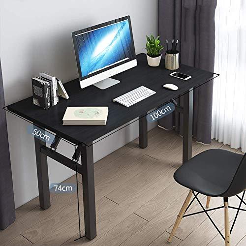 NMBC Plegable Escritorio de computadora Compacto Simplista Mesas para Ordenador Mesa de Estudio Una Sola Capa Mesa de PC Muebles de Oficina para Home Office -100x50x74cm Nogal Negro.