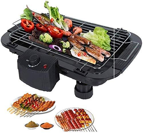 LUCKING Tragbarer elektrischer Grill Indoor Tragbarer Grill-Elektroherd mit 5 Temperatureinstellungen für Home Party Picknick Schwarz 2000W