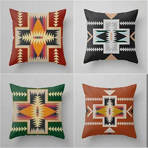 Kiss Cervical, set di 4 federe per cuscino sud-occidentale, 40 x 40 cm, colore mattone, rosso, nero, verde, decorazione etnica geometrica per la casa divano